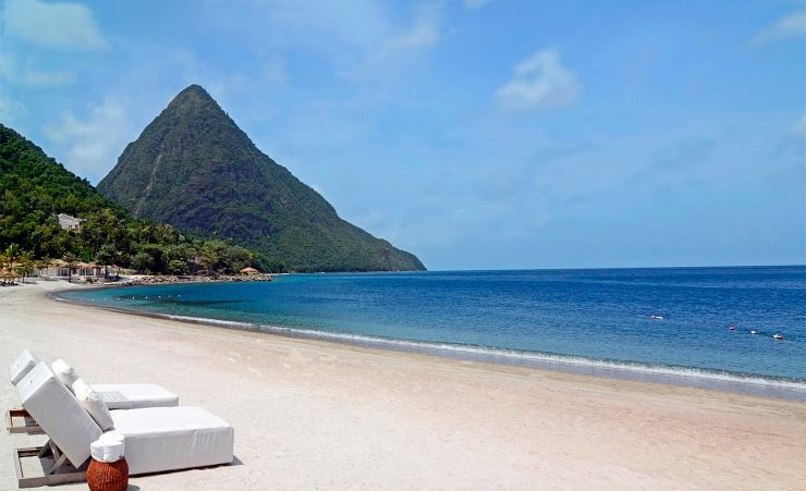 """Beach with Pitons in Background"""