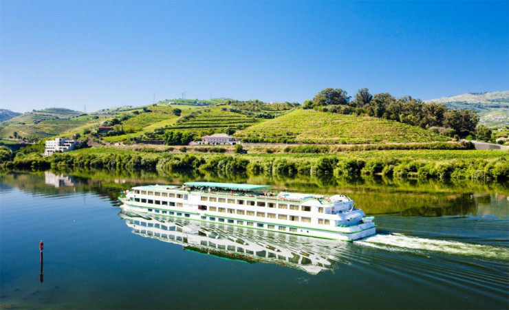 """Cruise Ship At Peso Da Regua In The Douro Valley"""