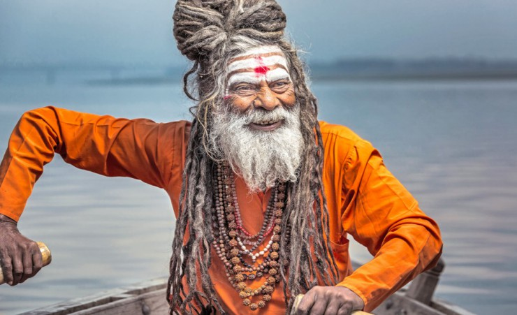 """Sadhu Rowing In Varanasi"""