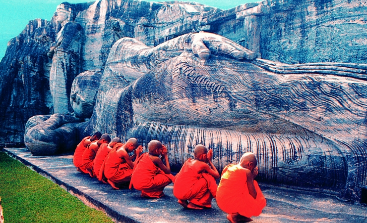 """Monks at the Polonnaruwa Statue"""