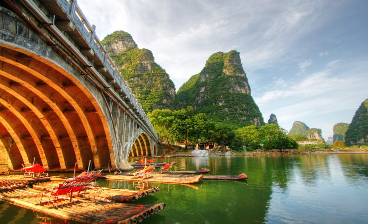 """Bamboo Raft on the Li River"""