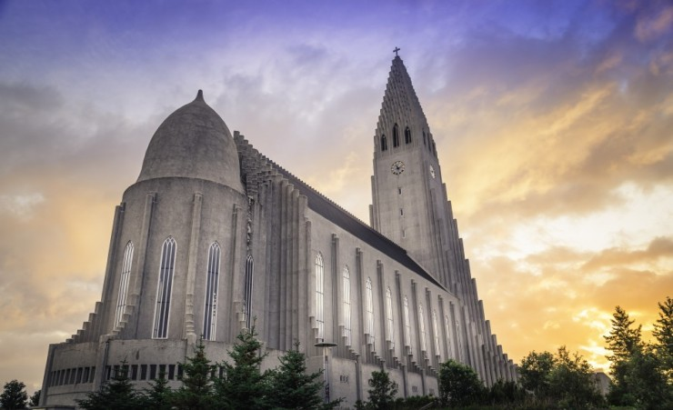 """The Hallgrimskirkja Under The Midnight Sun"""