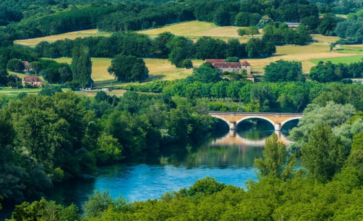 """Medieval Bridge Over The Dordogne River"""