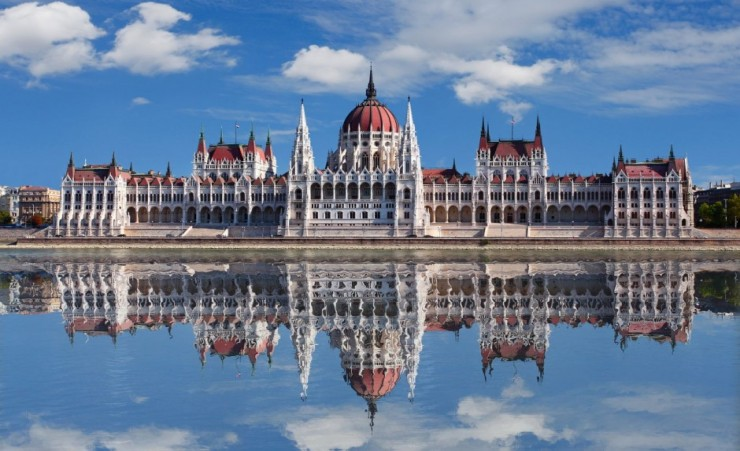 """Budapest Parliament Building Reflected In The Danube"""