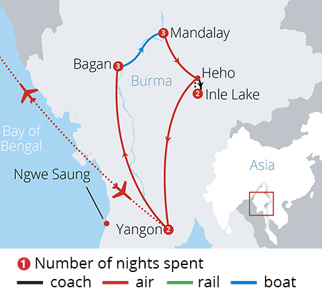 Burma's Mystical Highlights Route Map