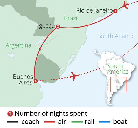 Brazil and Argentina Route Map