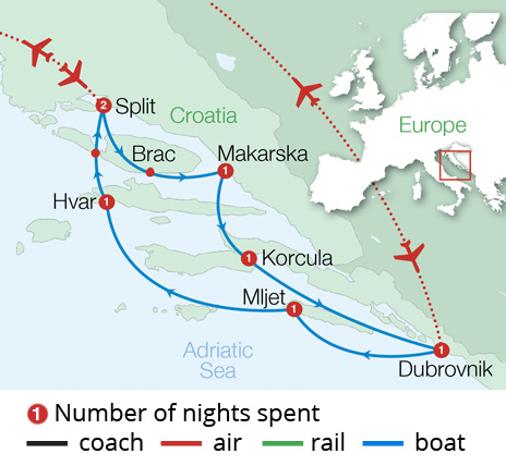 Croatian Island Cruise Dubrovnik Route Map