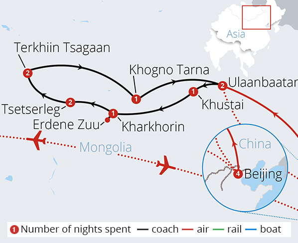 China and Mongolia Route Map