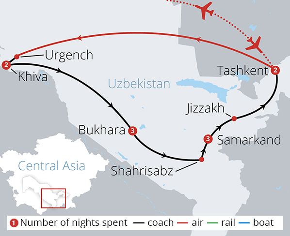 Uzbekistan and the Silk Route Route Map