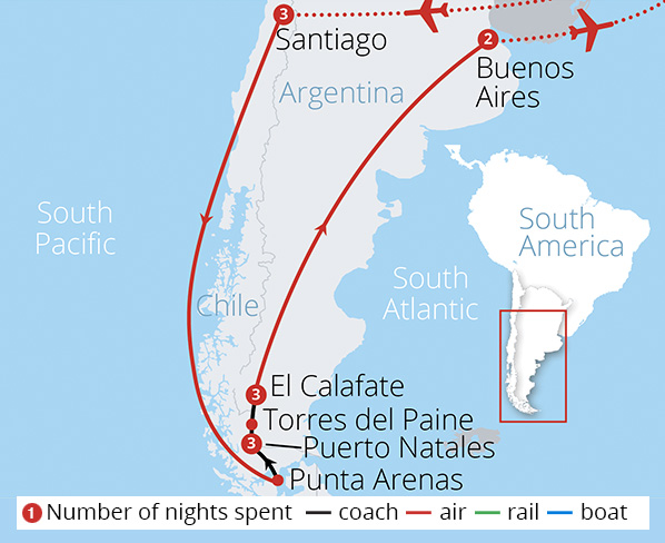 Chile Argentina and Patagonia Route Map