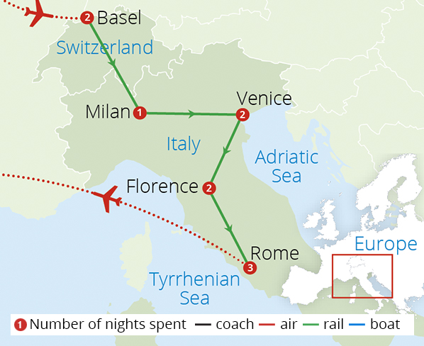 Italy via the Swiss Alps Route Map