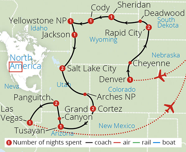 Yellowstone, Rushmore and the Grand Canyon Route Map