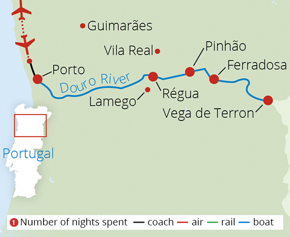 Valley of the Douro from Porto to Spain Route Map