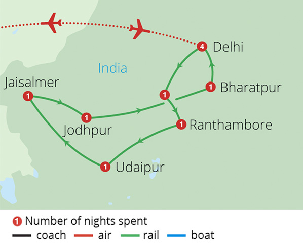 Indias Palace on Wheels Route Map