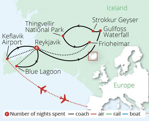 Iceland's Northern Lights Route Map