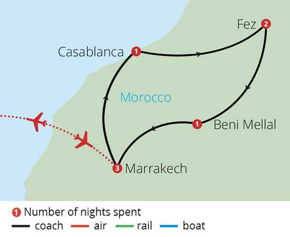 Imperial Cities of Morocco Route Map