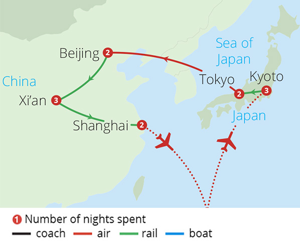 China and Japan's Rail Odyssey Route Map
