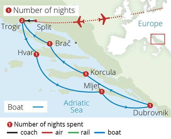 Deluxe Croatian Island Cruise Route Map