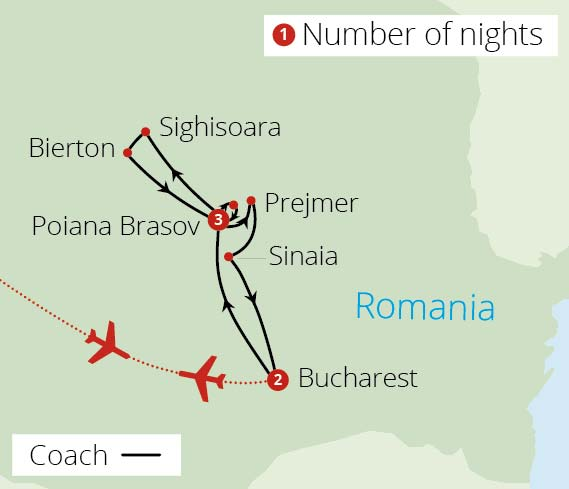 Transylvania and Bucharest Route Map