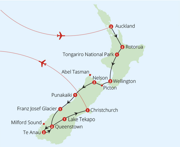 New Zealand 20 Day Fly Drive Route Map