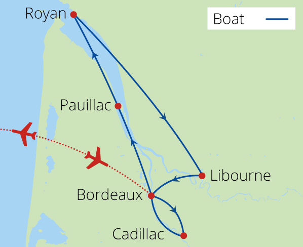 Bordeaux's Chateaux Rivers and Wine 2020 Route Map