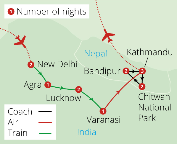 India and Nepal by Rail Route Map