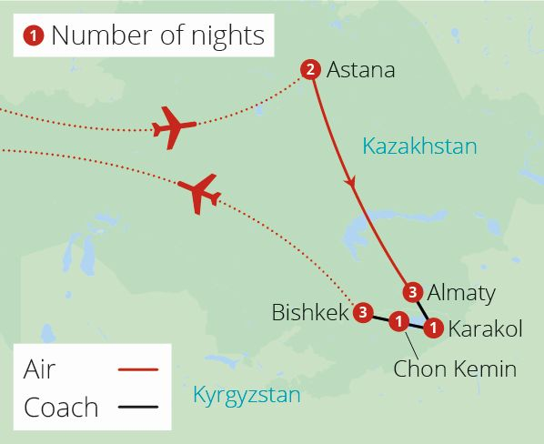 Kazakhstan and Kyrgyzstan Explorer  Route Map