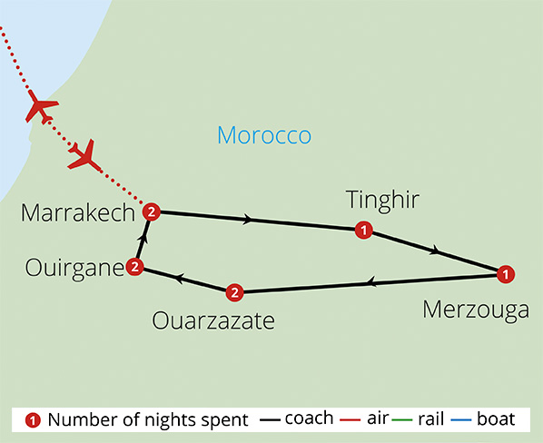 Moroccan Explorer Mountains to Desert  Route Map