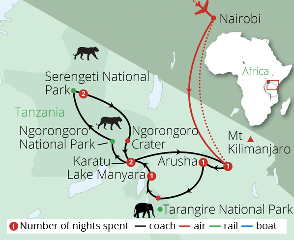 Tanzania Safari Route Map