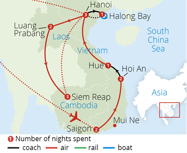 Vietnam Laos and Cambodia Route Map