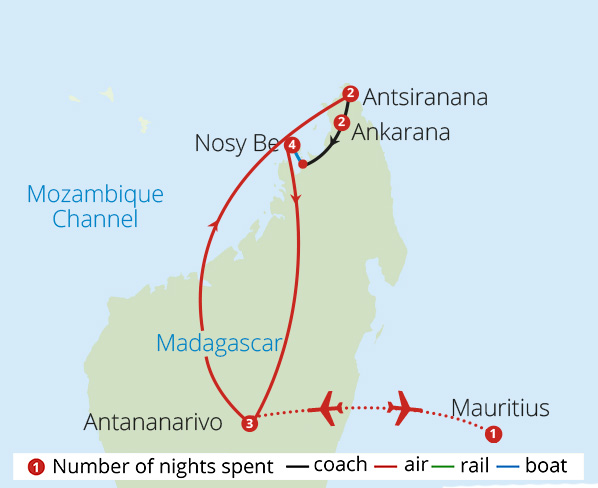 Madagascan Adventure Route Map