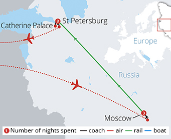 The Grand Capitals of Russia Route Map
