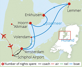 Holland and Lake IJsselmeer Route Map