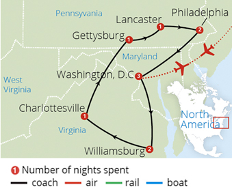 Colonial Virginia and Washington Route Map