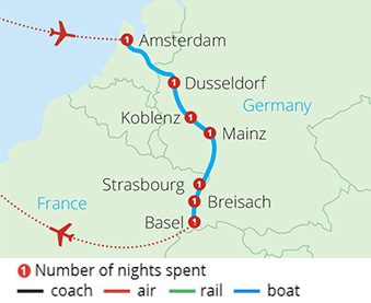 Cruising the Rhine Amsterdam to Basel Route Map