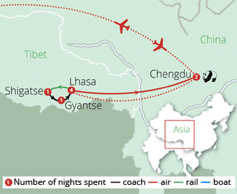 Treasures of Tibet Route Map