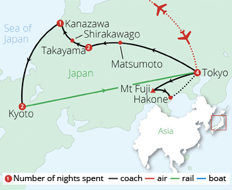 Treasures of Japan Route Map