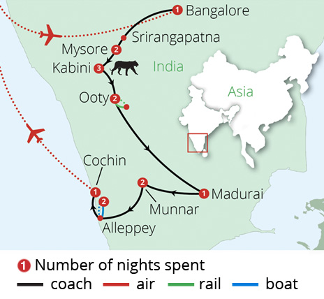 Wonders of South India Route Map