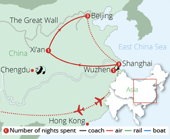 China Discovery Tour Route Map
