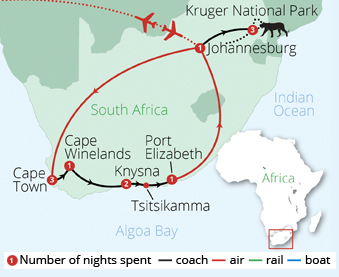 Best of South Africa Route Map