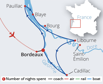 Bordeaux's Chateaux Rivers and Wine Route Map
