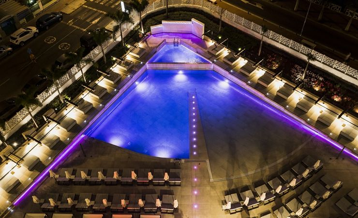 Aerial Of Swimming Pool At Night
