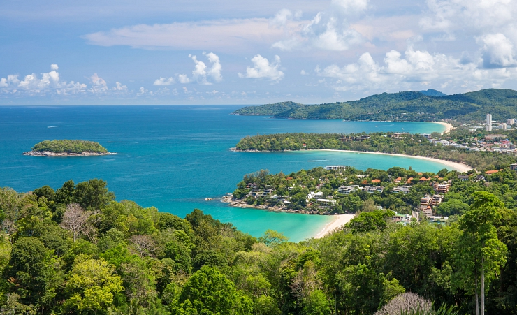 """Aerial View Of Kata And Karon Beaches In Phuket"""