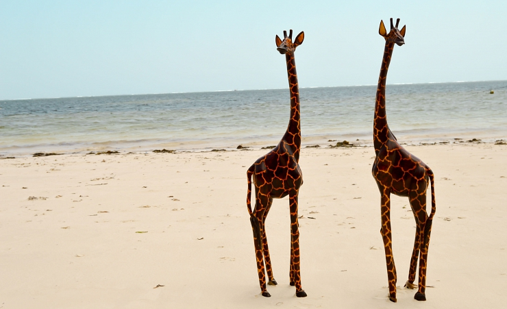 """Giraffe Sculptures On The Beach"""
